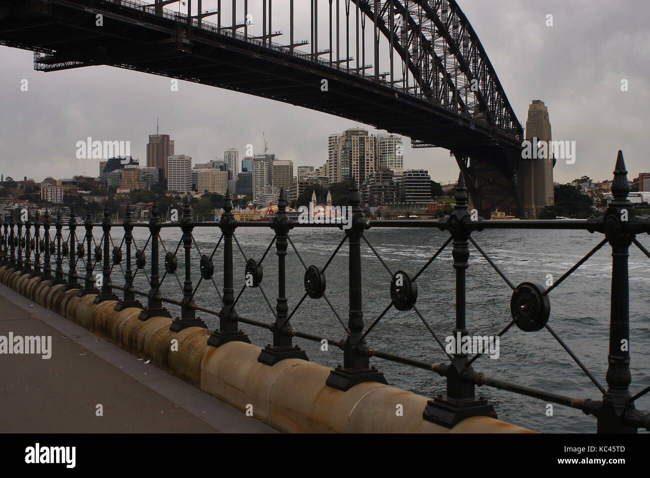 Glimpse of the Sydney Harbour Bridge from near The Rocks, NSW, Australia - Stock Image