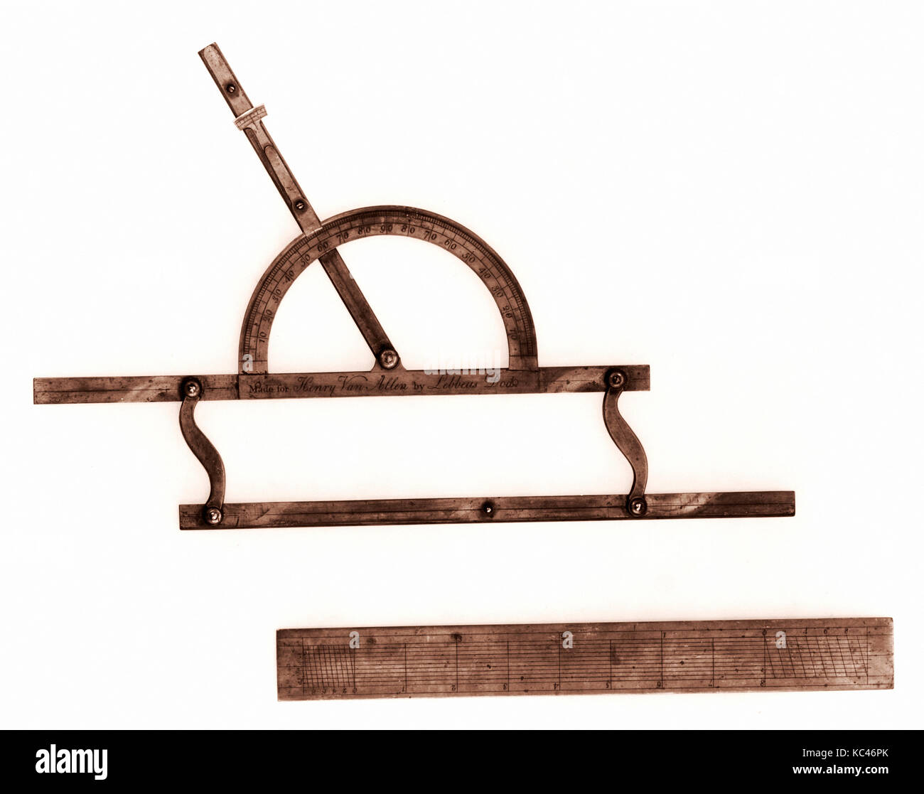 Parallel Rule with Protractor and Plotting Scale, Lebbeus Dod, 1796 - Stock Image