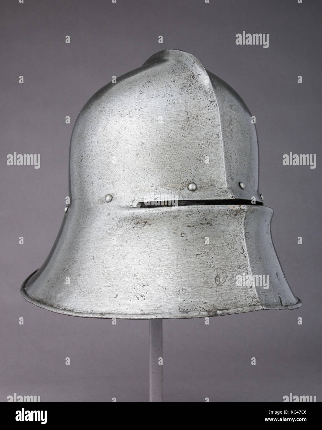 Sallet and Bevor, 1480, German, Steel, copper alloy, leather, Sallet (a); H. 10 1/4 in. (26 cm); W. 11 1/4 in. (28.6 - Stock Image
