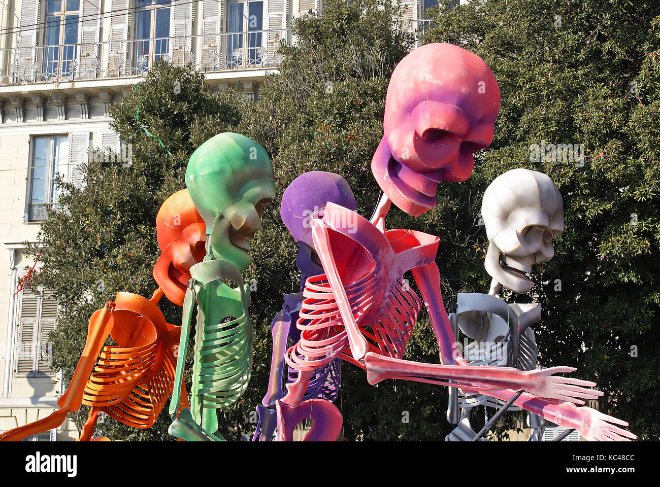 Carnival in the city of Nice (French Riviera) in february 2008. Procession of colored skeletor. It is one of the - Stock Image