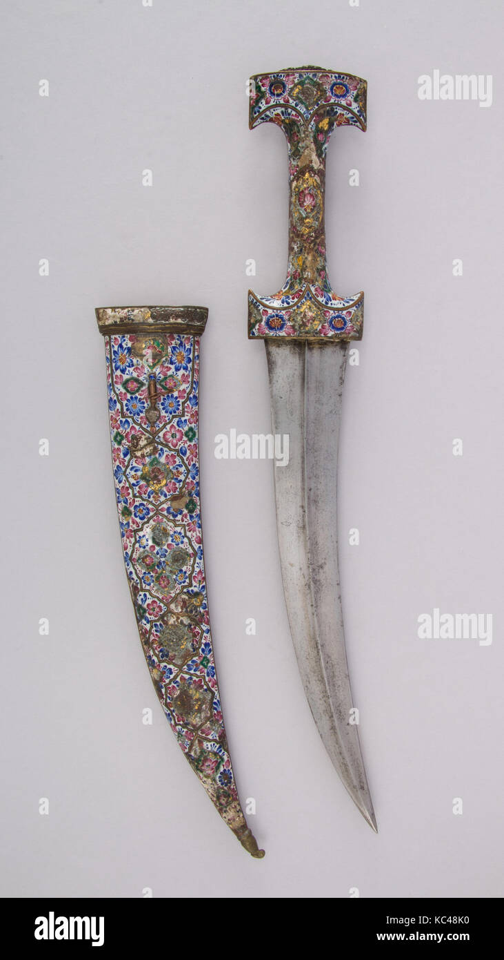 Dagger (Jambiya) with Sheath, early 19th century, Persian, Qajar, Steel, copper, enamel, garnet, turquoise, H. with Stock Photo