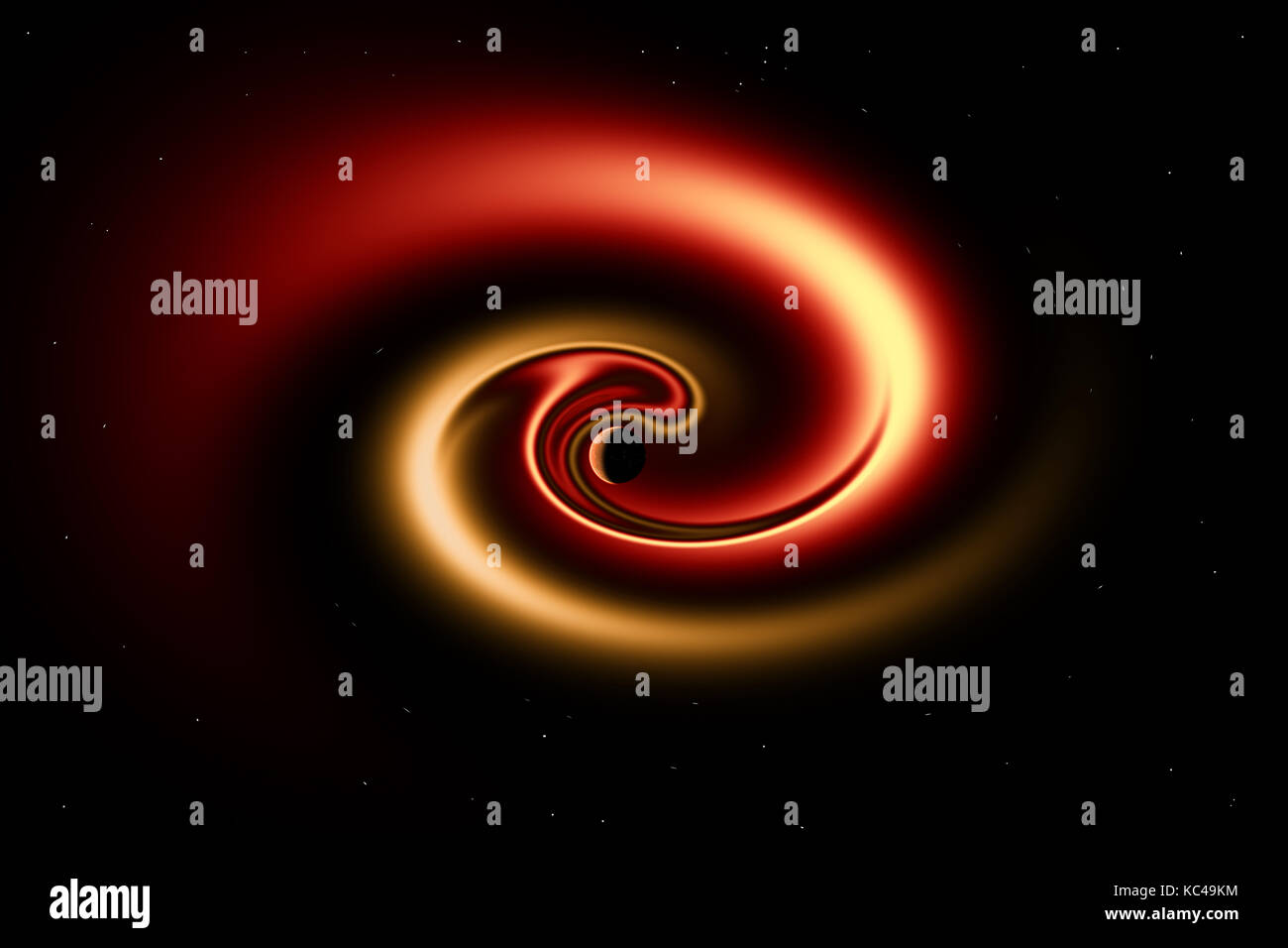 A Rogue Planet Being Pulled Into A Black Hole - Stock Image