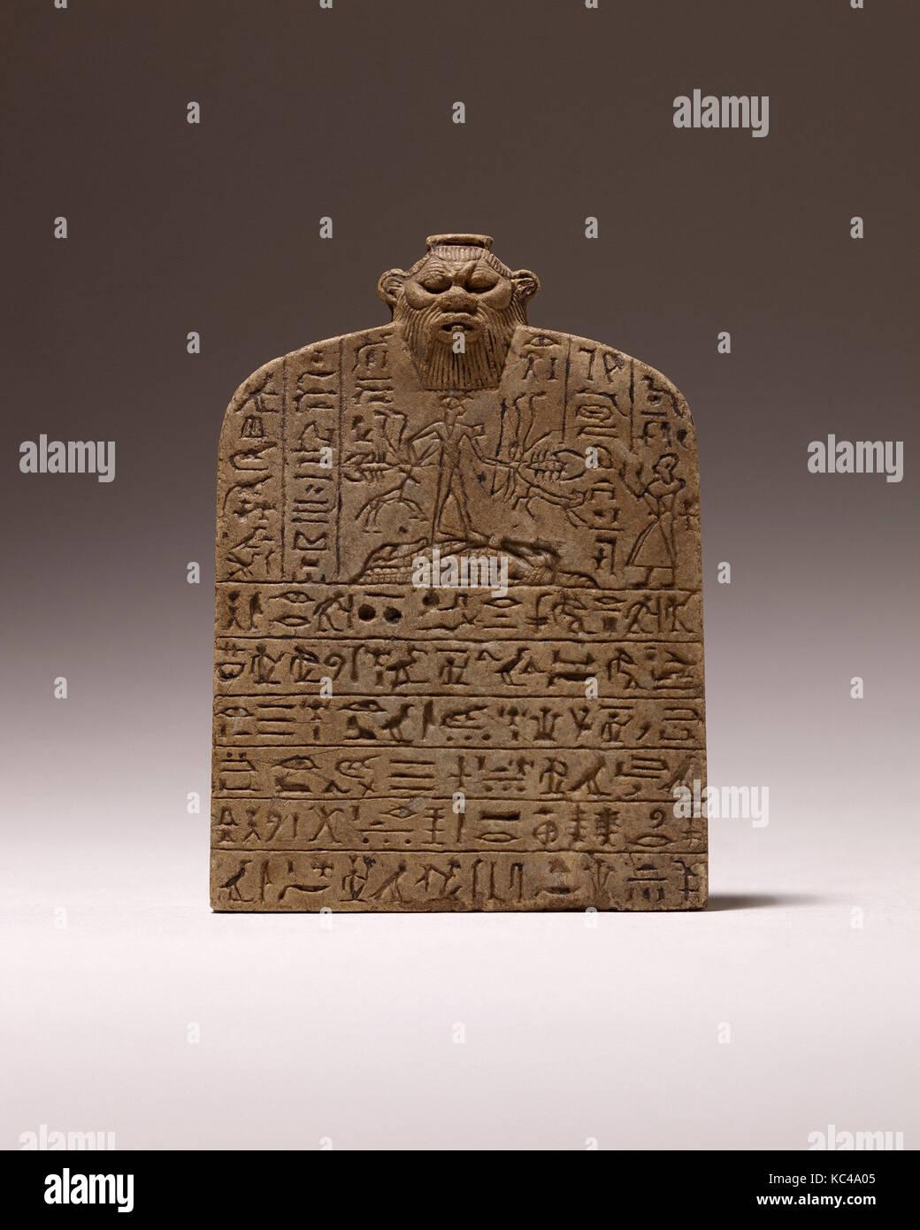 Small Magical Stela with Shed dedicated by Nesamenemopet, son of Djedkhonsuiufankh, ca. 750–664 B.C - Stock Image