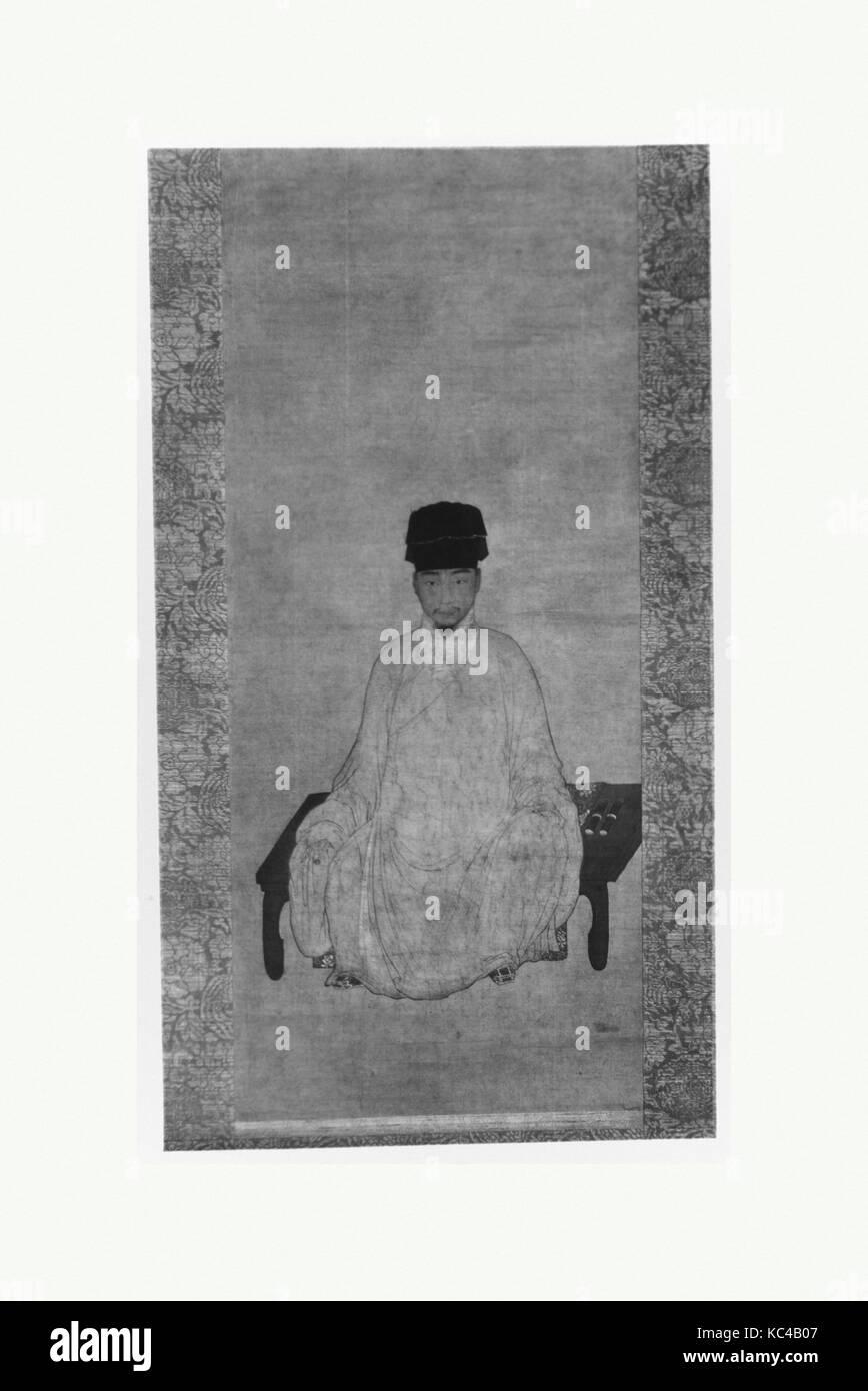 清 佚名 肖像  軸, Portrait of a Scholar, Unidentified Artist, Formerly Attributed to Jin Chushi, 17th–18th century - Stock Image