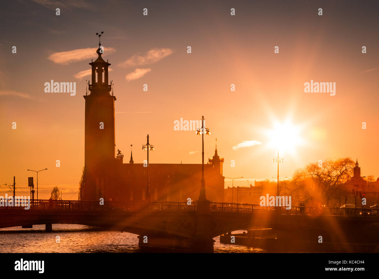 Sunset over the Stadhaus, Stockholm, Sweden - Stock Image