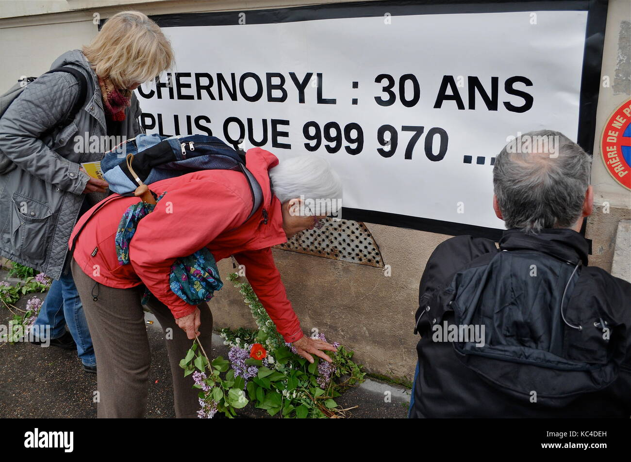 Greenpeace militants celebrate the 30th anniversary of Tchernobyl nuclear disaster, Lyon, France - Stock Image