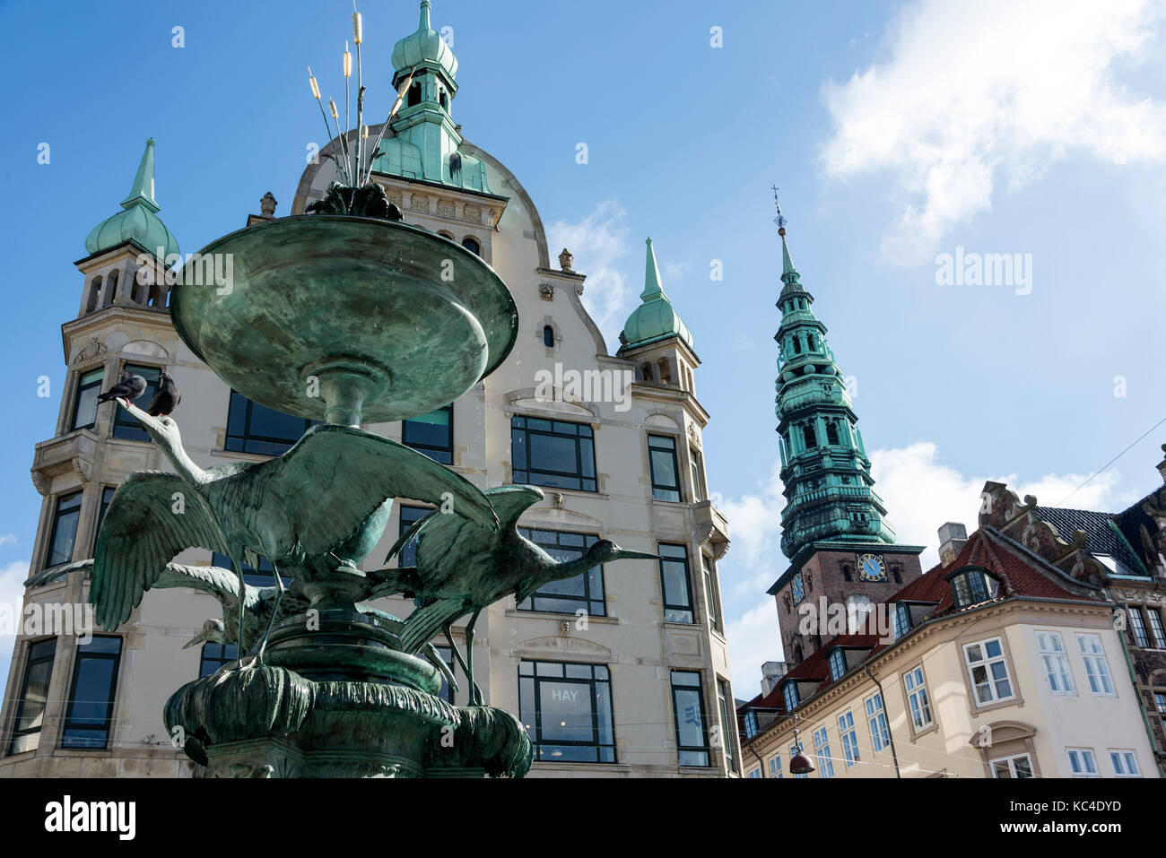 The stork sculpture on the Stork Spring Water Fountain (Storkespringvandets) signifies an annual tradition for newly - Stock Image