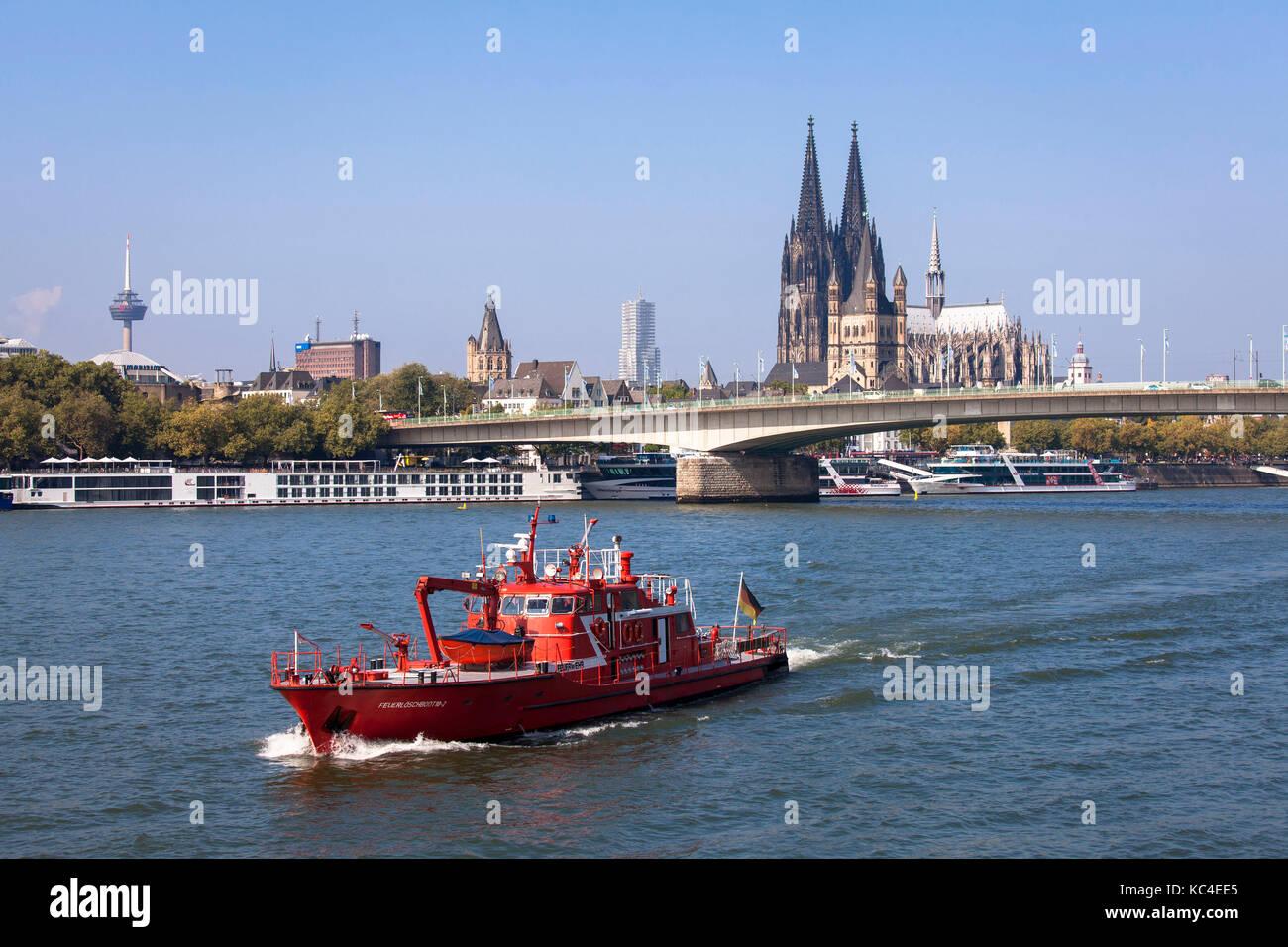 Fire Boat Germany Cologne Fire Department Fireboat Köln Loschboot Beruffs-Fueuer