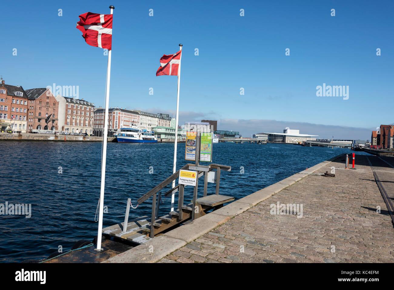 On the Christianshavn side of Copenhagen harbour towards the Royal Danish Opera House in Denmark - Stock Image
