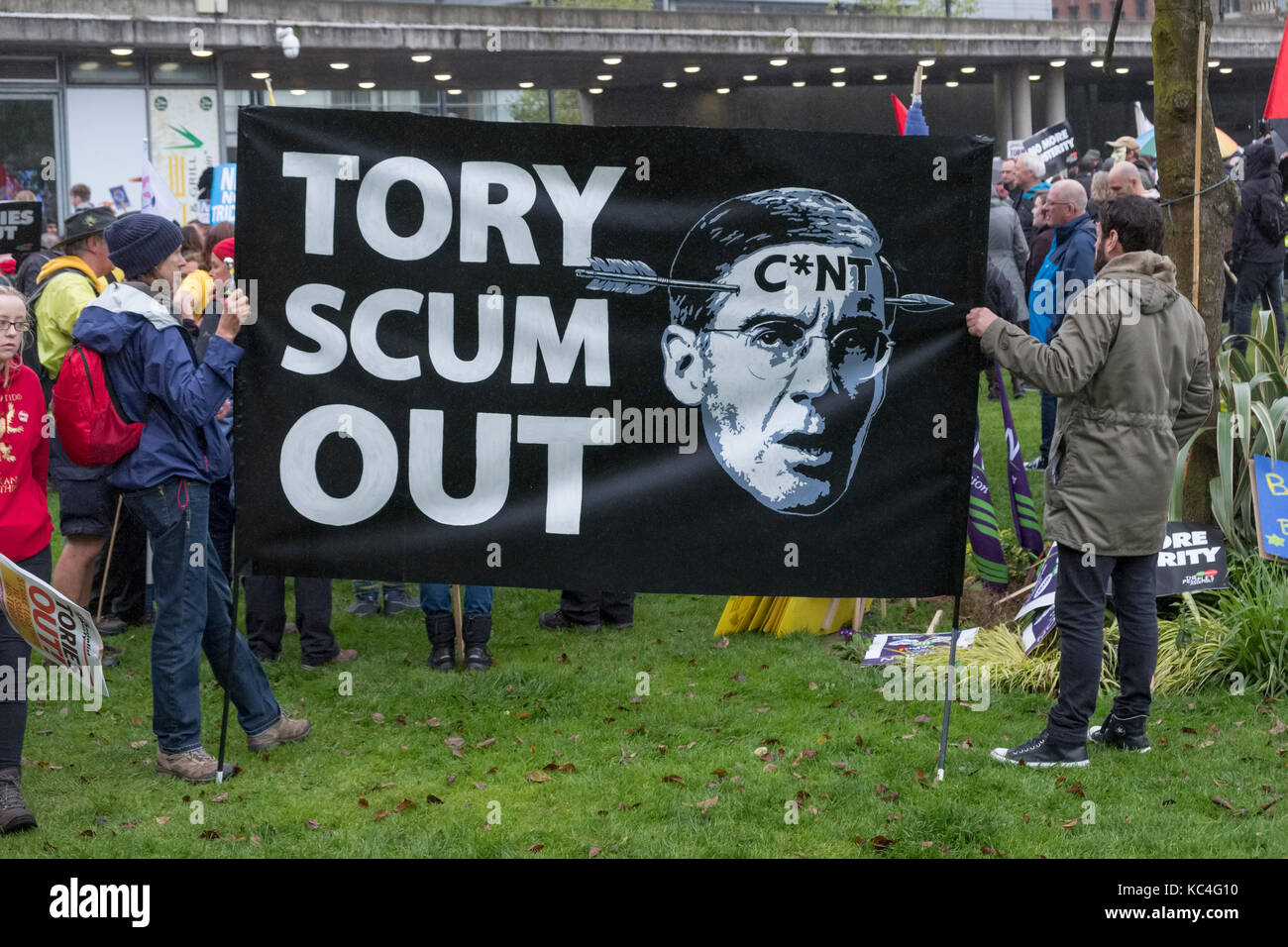 Manchester, UK. 1st Oct, 2017. A large anti austerity demonstration taking place during the Conservative Party Conference - Stock Image
