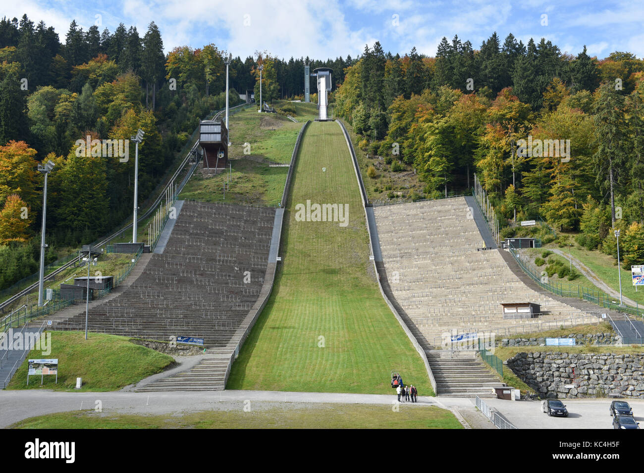 Willingen, Germany. 29th Sep, 2017. View of the Muehlenkopf jump ('Muehlenkopfschanze') in Willingen, Germany, - Stock Image