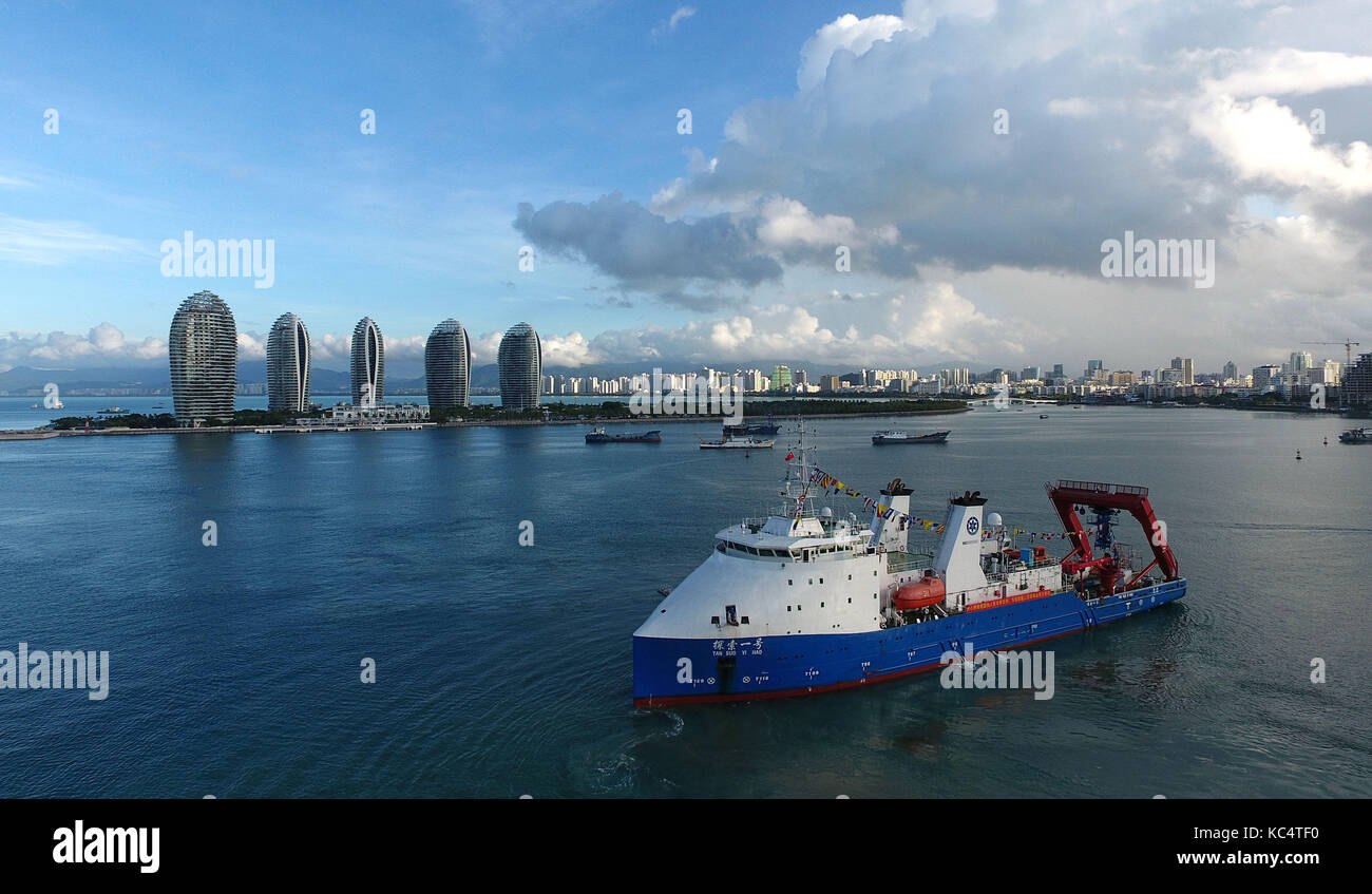Sanya. 3rd Oct, 2017. Photo taken on Oct. 3, 2017 shows the manned submersible named Shenhai Yongshi, or deepsea - Stock Image
