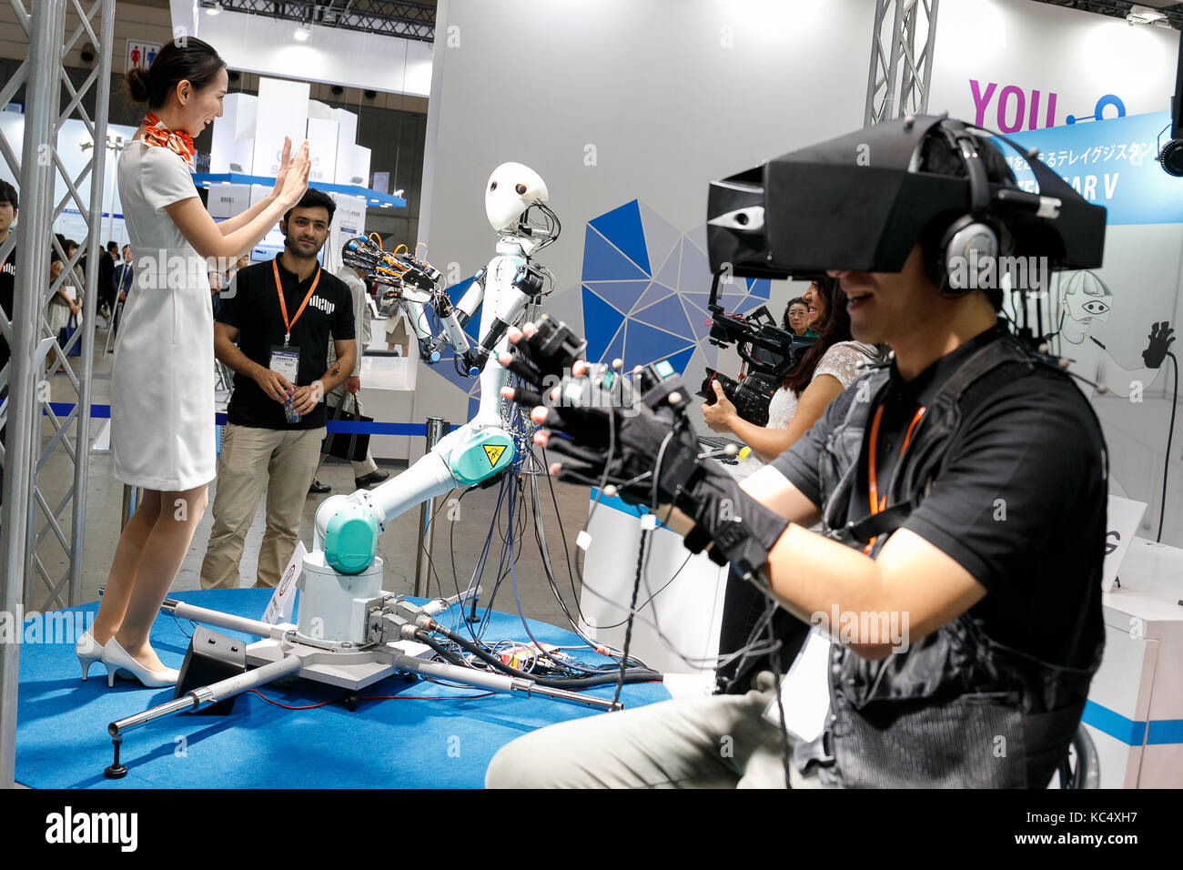 Exhibition Booth Assistant : Robot booth at exhibition stock photos