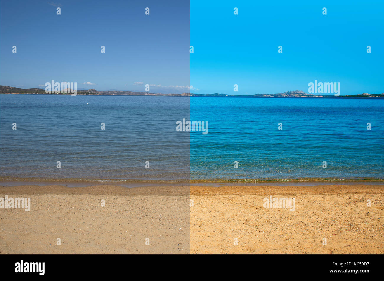 picture of a quiet beach and sea before and after the image editing process - Stock Image