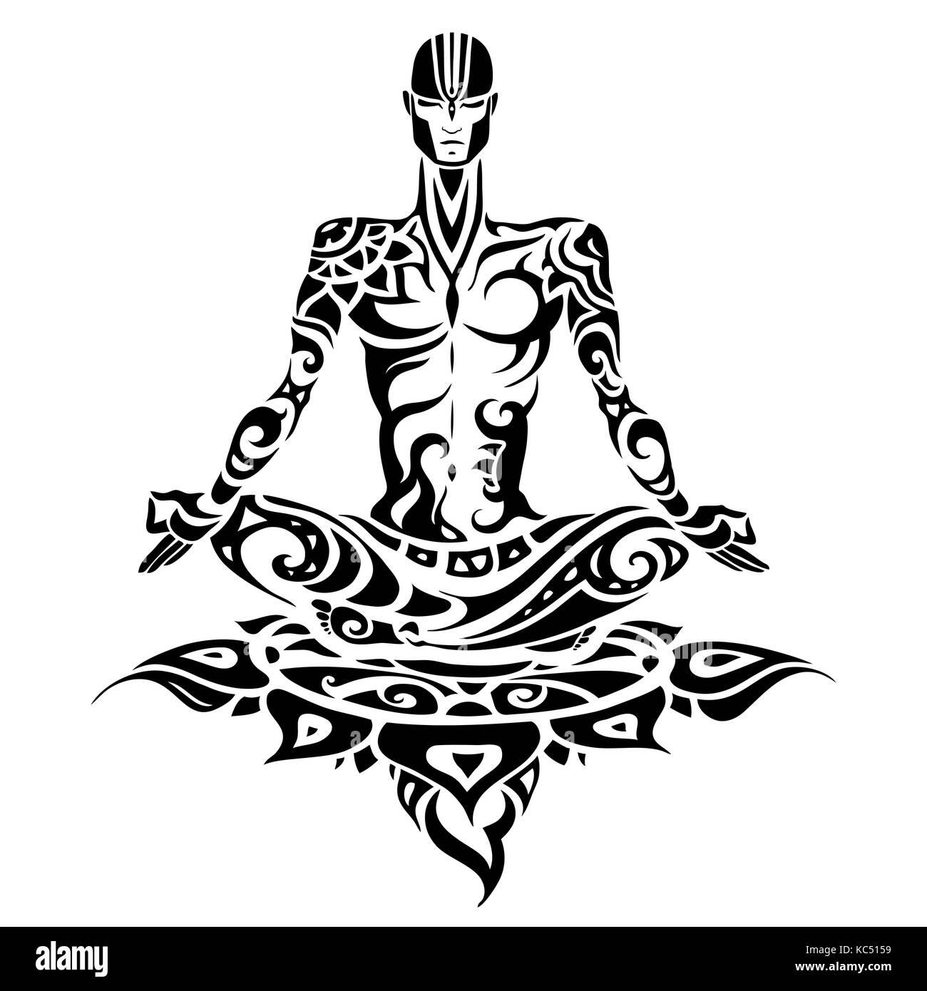 Meditation Yoga Man Silhouette Stock Vector Image Art Alamy