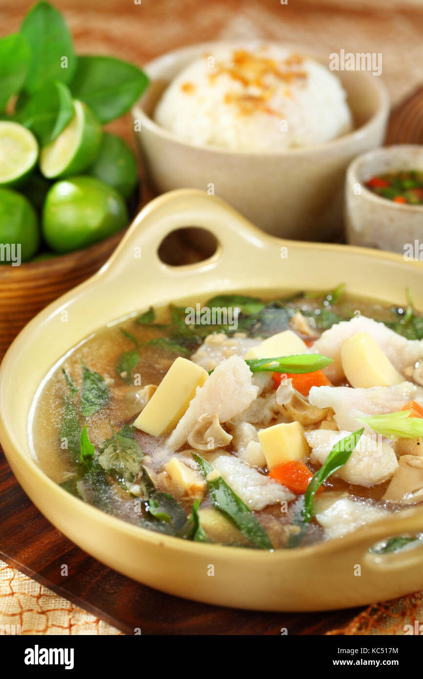 A bowl of Fish Seafood soup. A treat for seafood lovers, this is more than just a soup. It's the main course and - Stock Image
