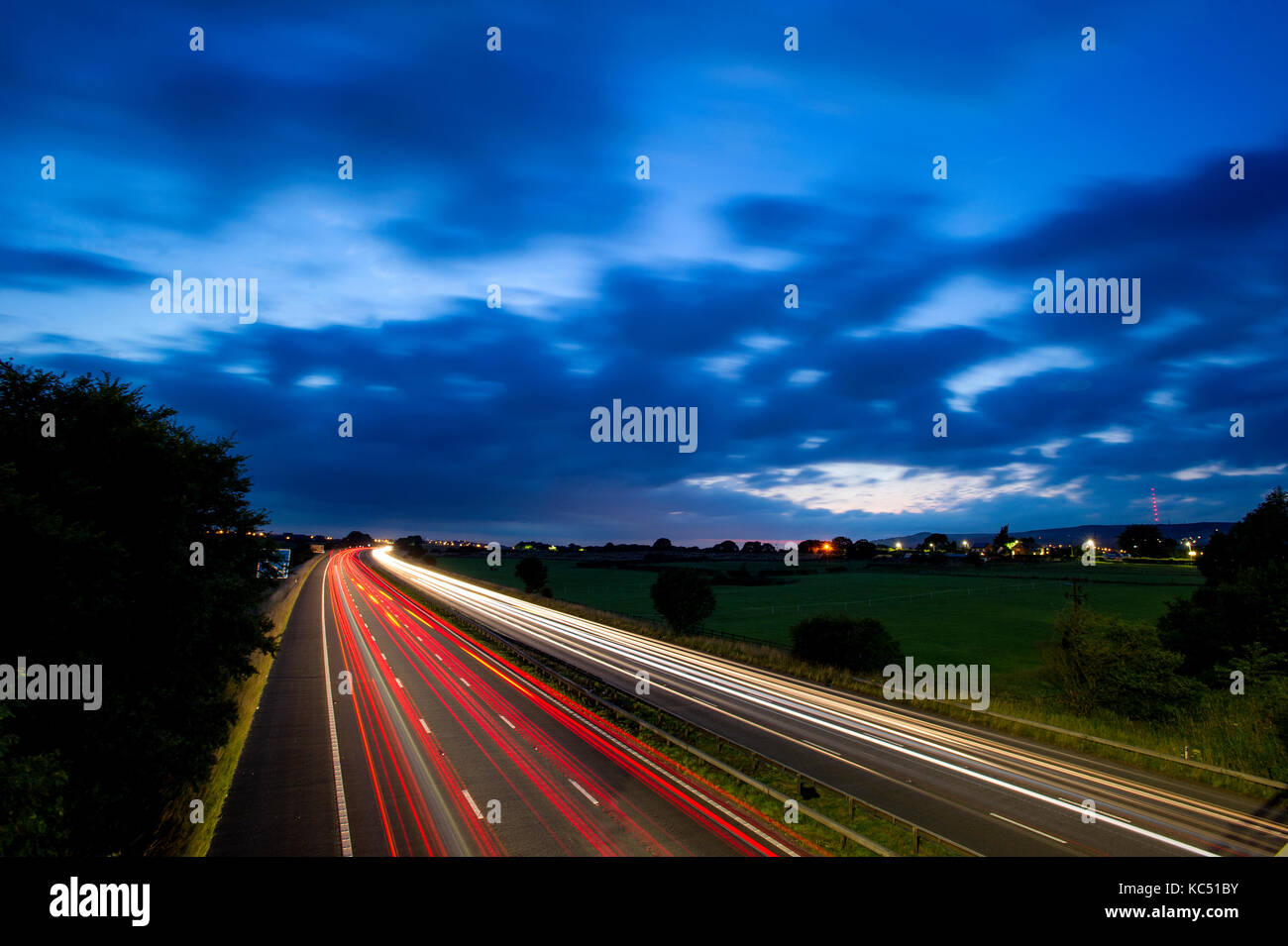 Light trails on the M61 motorway, Westhoughton, Bolton. Picture by Paul Heyes, Tuesday July 25, 2017. - Stock Image