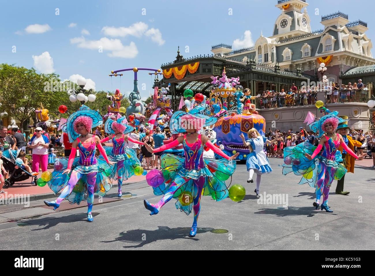Walt Disney's Magic Kingdom theme park, Orlando, Florida, USA and the fairytale parade 'Carnival of Fantasy' - Stock Image