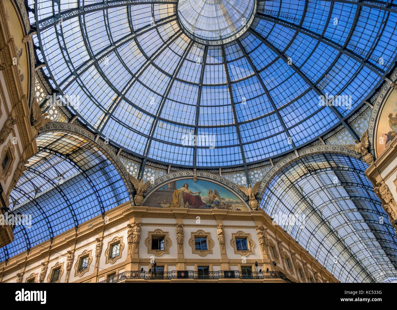Galleria Vittorio Emanuele II, gallery, Milano, Milan, Lombardy, Lombardy, Italy, Europe - Stock Image