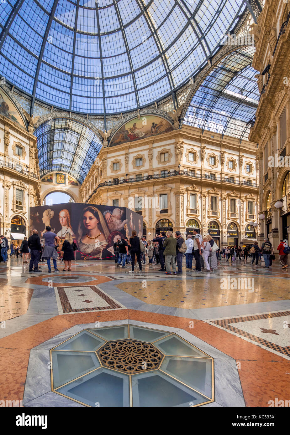 Galleria Vittorio Emanuele II, gallery, Milano, Milan, Lombardy, Lombardy, Italy, Europe - Stock Image