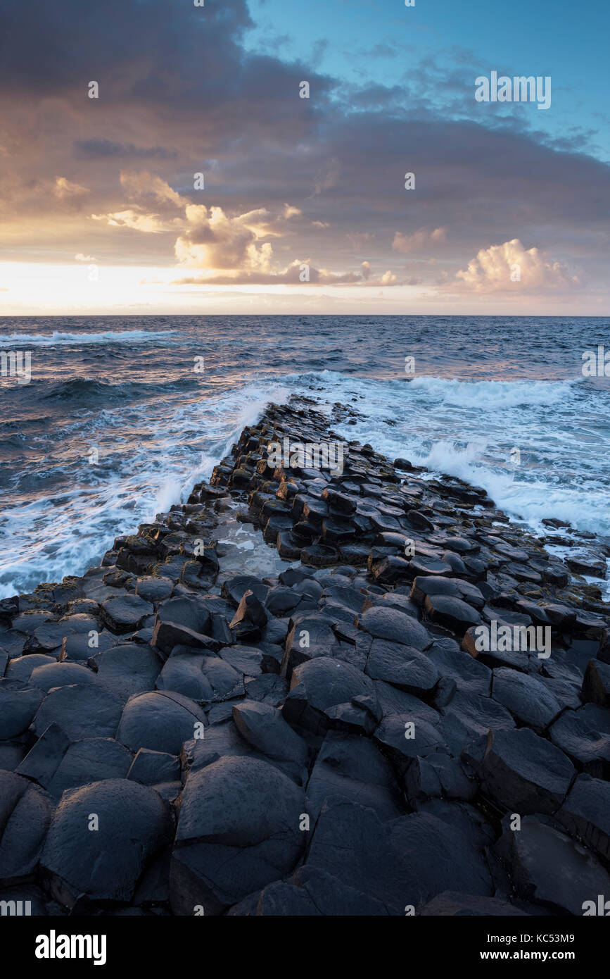 Basalt columns by the coast at sunset, Giant's Causeway, County Antrim, Northern Ireland, United Kingdom - Stock Image