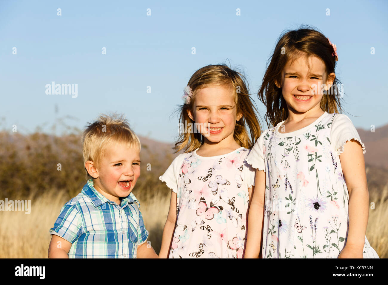 Three Siblings Boy And Two Girls Toddlers Namibia Stock Photo