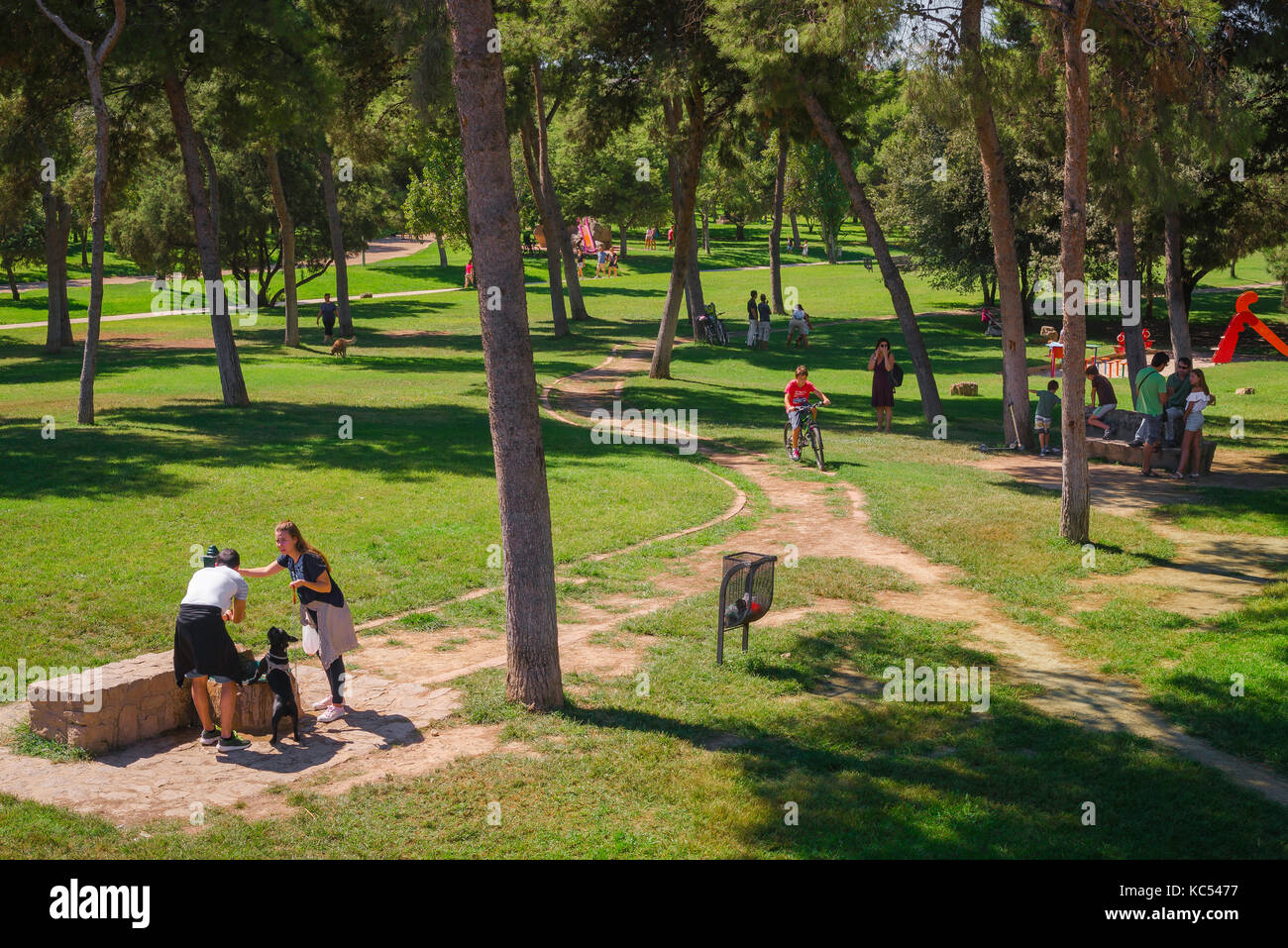 Turia garden Valencia, people at leisure in the Jardines del Turia riverbed park on a Sunday morning in summer, - Stock Image