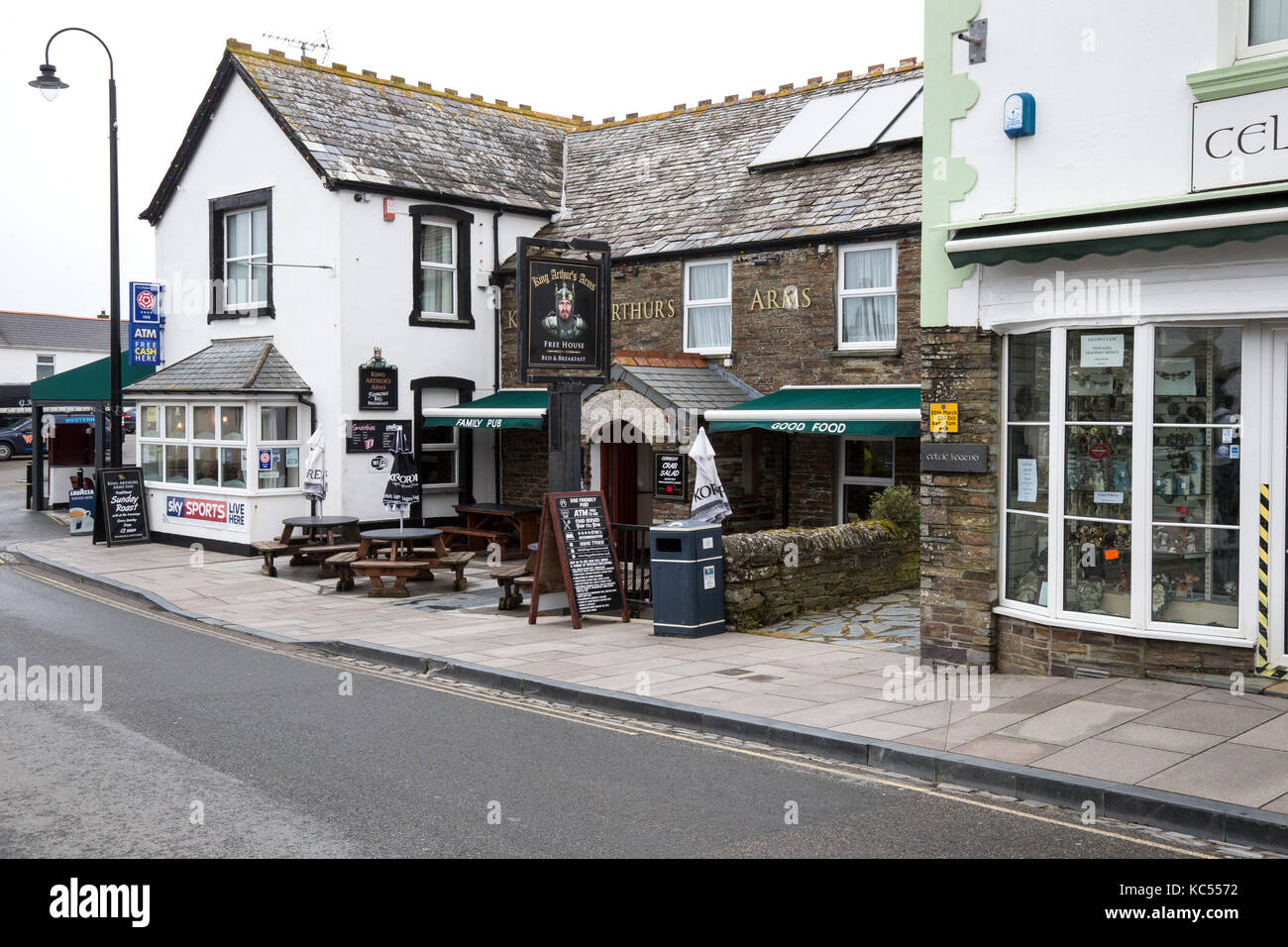 King Arthur's Arms public house, Tintagel, Cornwall - Stock Image