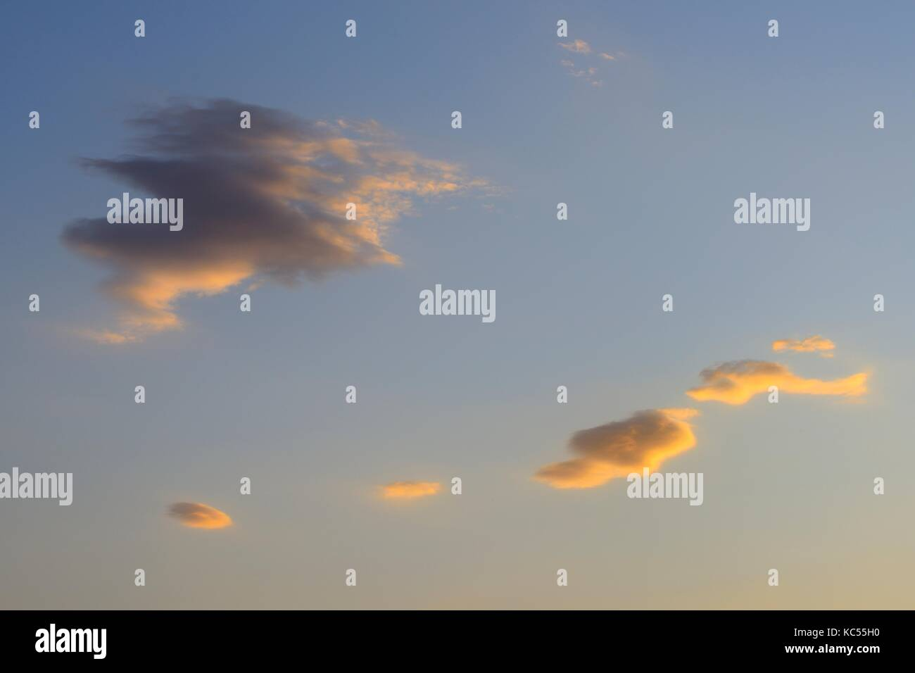 Small clouds at sunset, Concepción, Paraguay - Stock Image