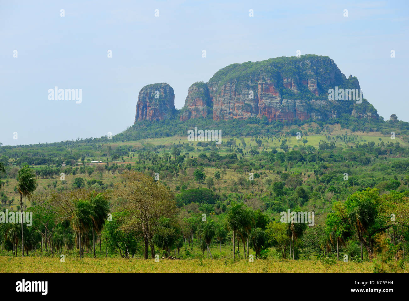 Typical landscape with rock formation Cerro Memby in the background, Yby Yau, Concepcion, Paraguay - Stock Image