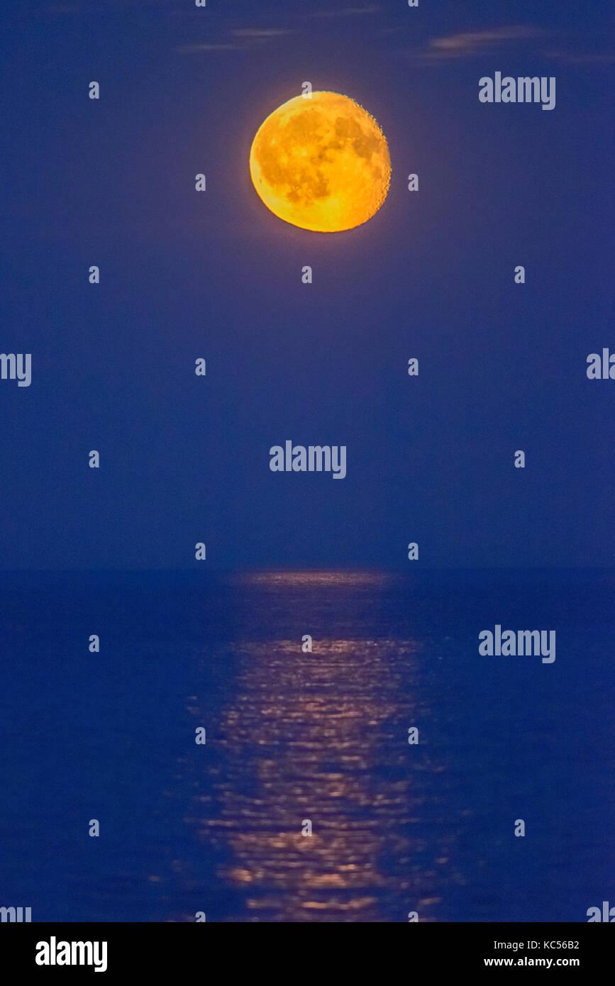 Moon over the sea, night view, Rødvig Stevns, Region Sjælland, Denmark - Stock Image