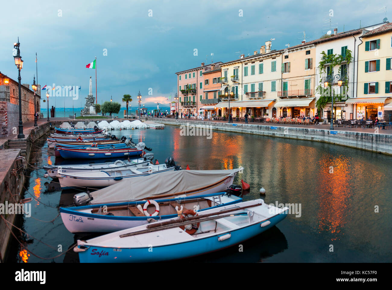Harbour with fishing boats, Lazise, Lake Garda, Veneto, Veneto, Veneto, Italy Stock Photo