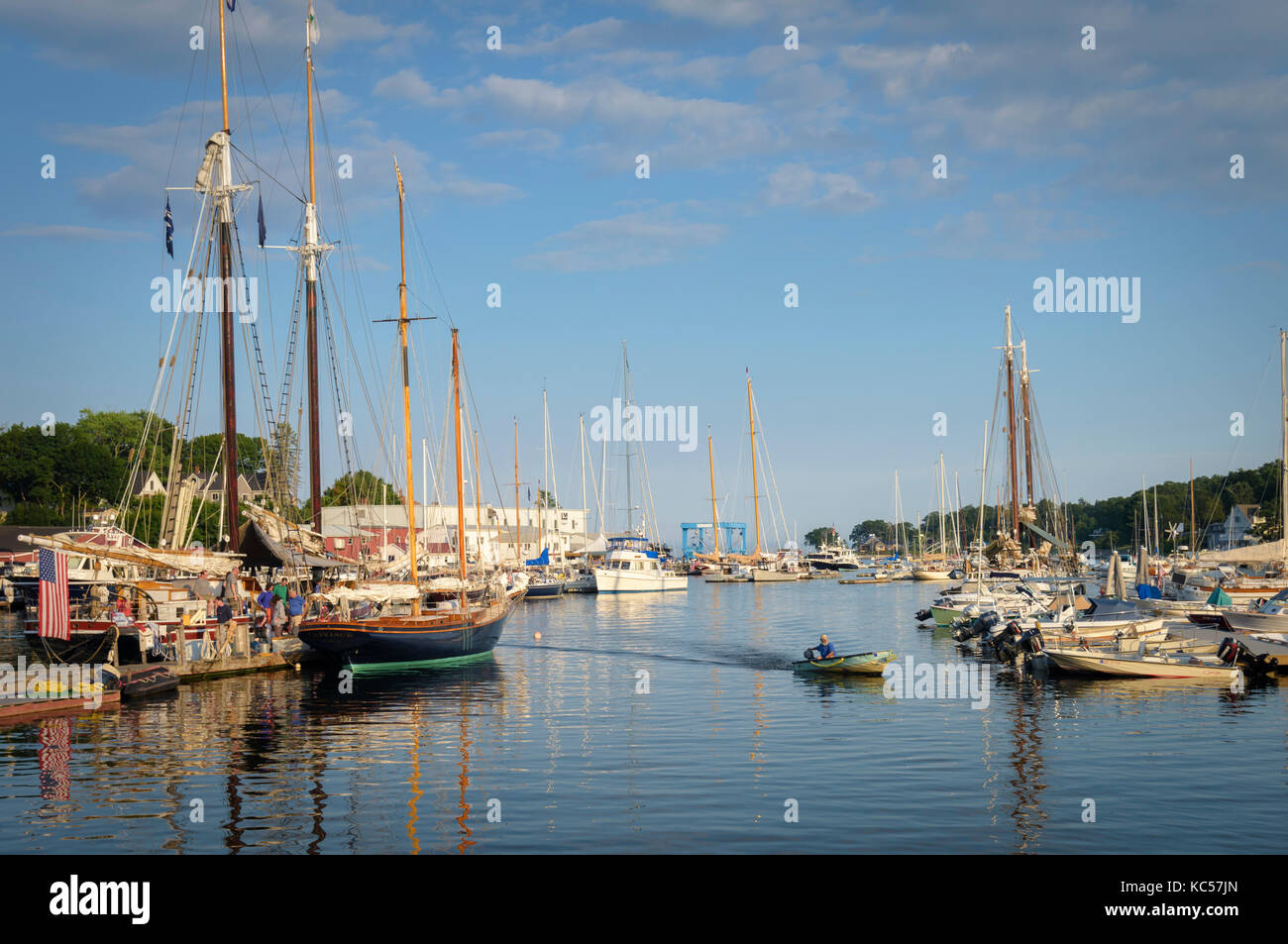 View of the Harbor at Camden Maine. - Stock Image