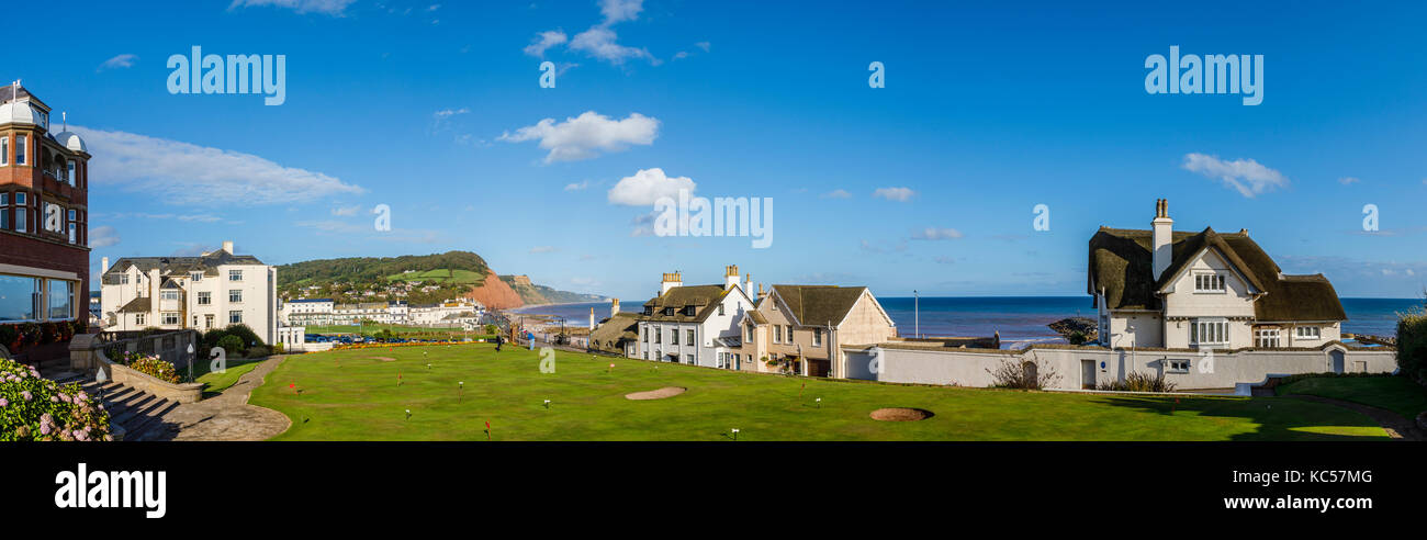 Panoramic view of Sidmouth and caostline, a coastal town and popular holiday resort on the English Channel coast - Stock Image