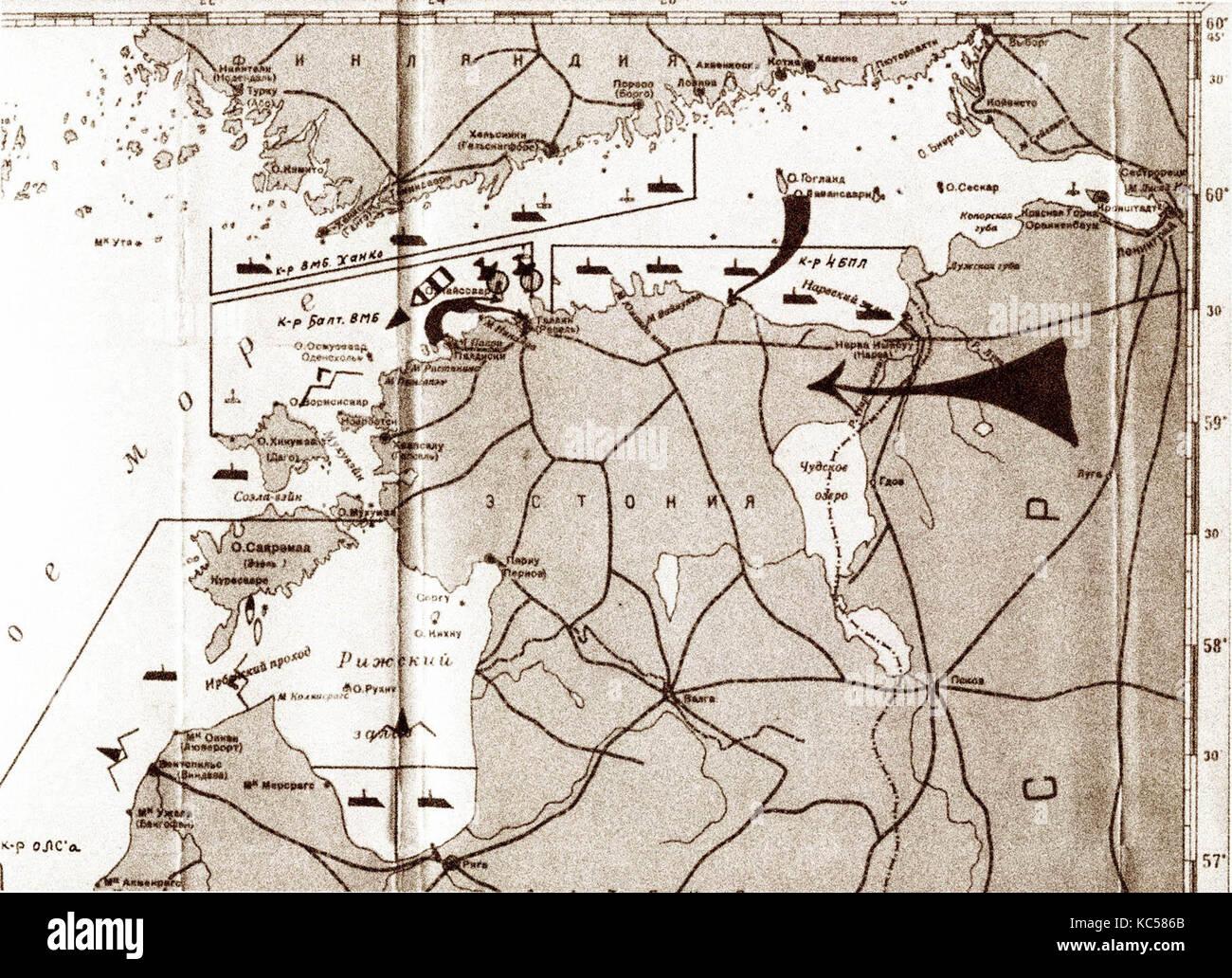 Schematics of the Soviet military blockade and invasion of Estonia and Latvia in 1940 - Stock Image