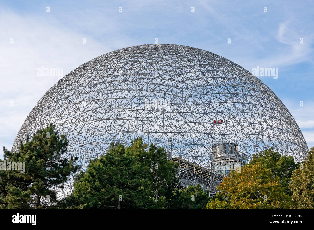 Montreal Biosphere Environment Museum geodesic dome in Parc Jean Drapeau, Ile Sainte-Helene, Montreal, Quebec, Canada - Stock Image