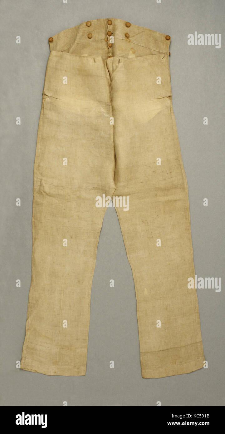 Pantaloons, 1830s, American, linen - Stock Image