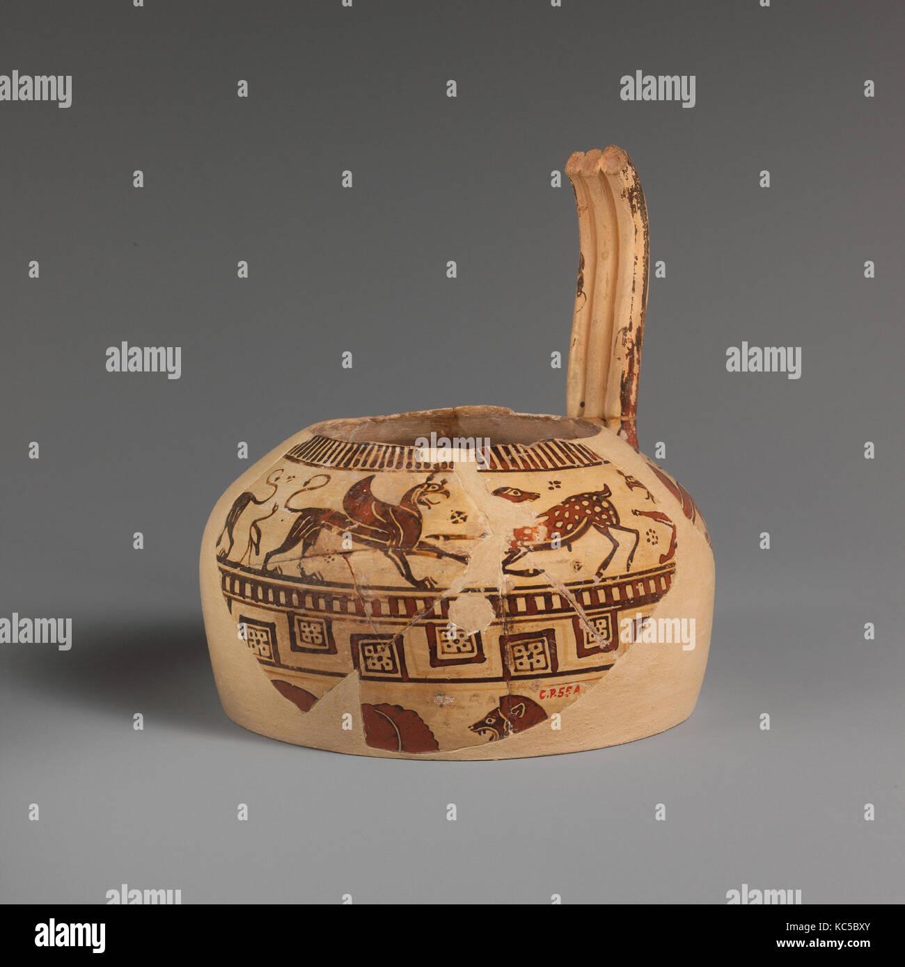 Fragment of a terracotta oinochoe (jug), ca. 560–550 B.C Stock Photo