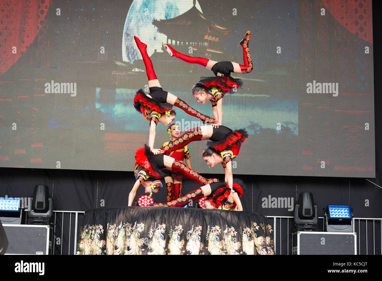 Chinese Contortion Show at the China Festival 2017 in Cologne, Germany. - Stock Image