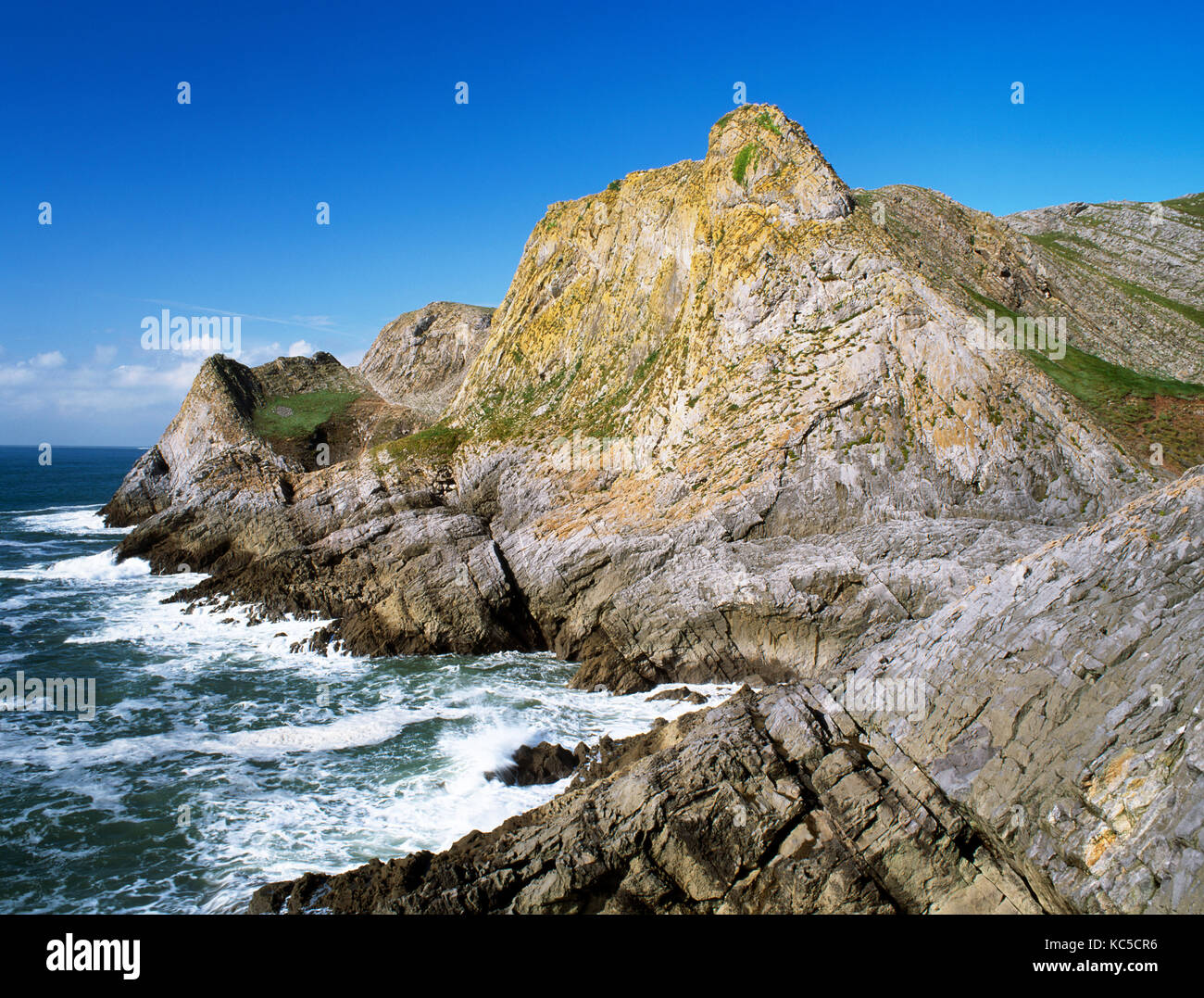 Paviland Cliff, The Gower, South Wales. Part of limestone coastal reserves running from Rhossili to Port Eynon. - Stock Image