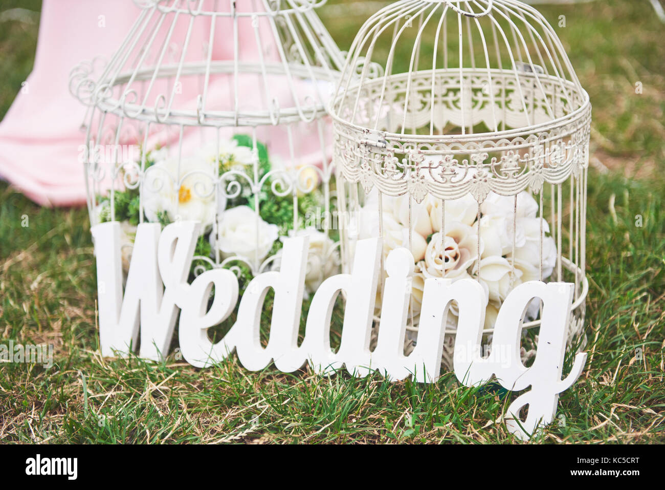 Wood Hand Made Welcome Wedding Decoration - Stock Image