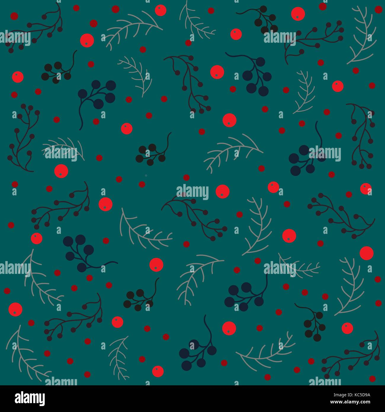 Seamless Christmas pattern with branches with berries and spruce branches. Vector illustration.Winter Collection - Stock Vector