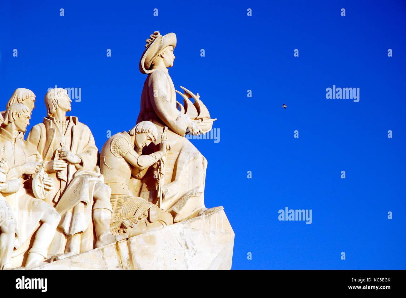 Detail of the Monument to the Discoveries (Padrão dos Descobrimentos). Lisbon, Portugal - Stock Image