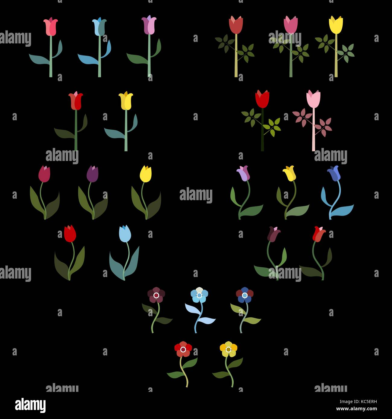 Beautiful Spring Flower Collection. Delicate Fancy Design. - Stock Vector