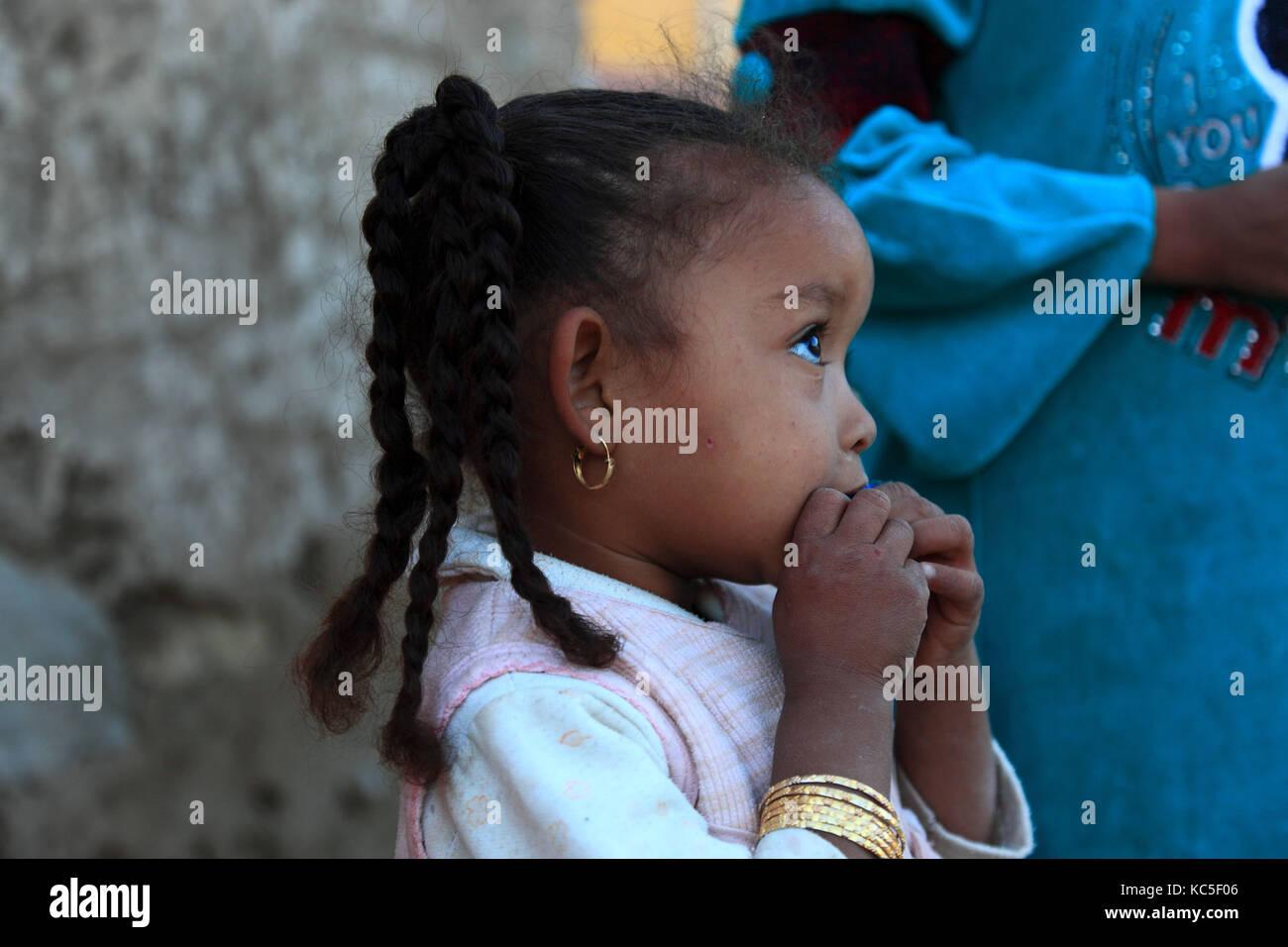 Elephantine Island, Small child with braids, Egypt Stock Photo