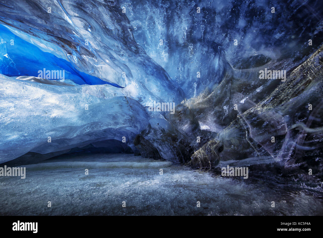 Ice shapes inside an ice cave during a photography expedition in Athabasca Glacier - Stock Image