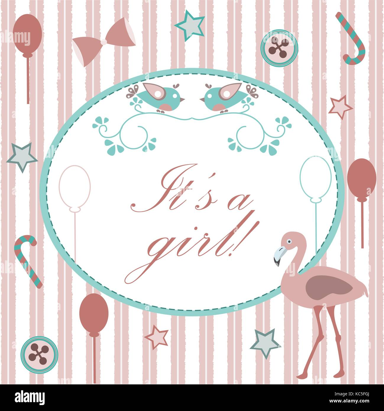 Baby girl birth announcement baby shower invitation card cute pink baby girl birth announcement baby shower invitation card cute pink flamingo bird announces the arrival of a baby girl retro card design pink backg filmwisefo Image collections