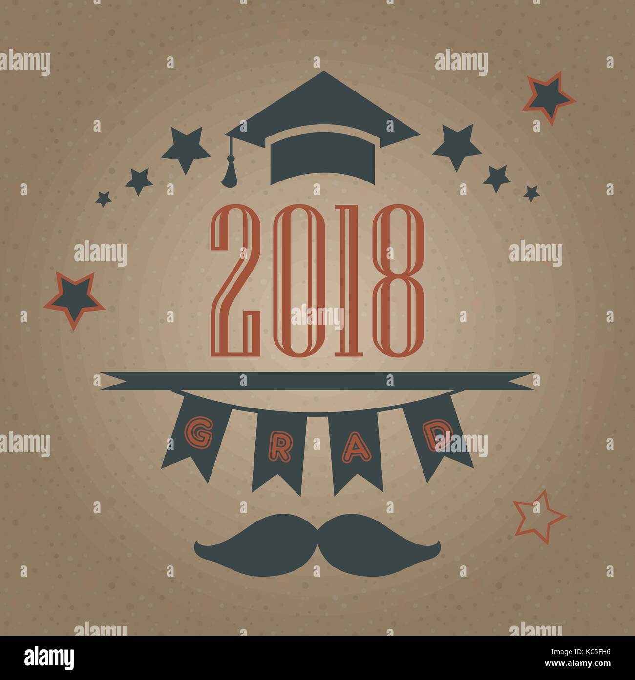 Grad of Class 2018 with mustache, graduation cap and stars. Retro Style Collection. Festive bubbly background. Vector - Stock Image