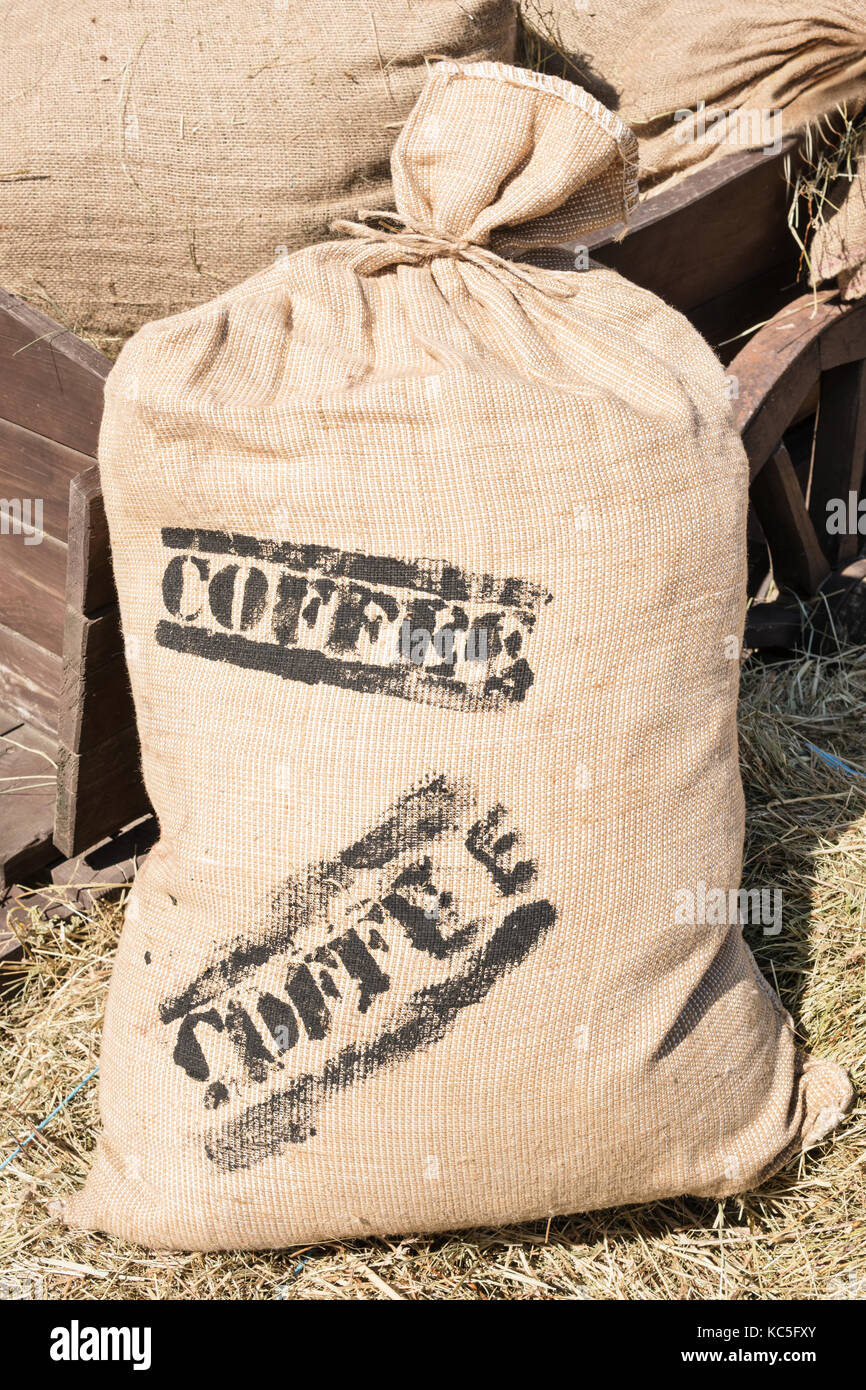 Large bag of coffee at the cart - Stock Image