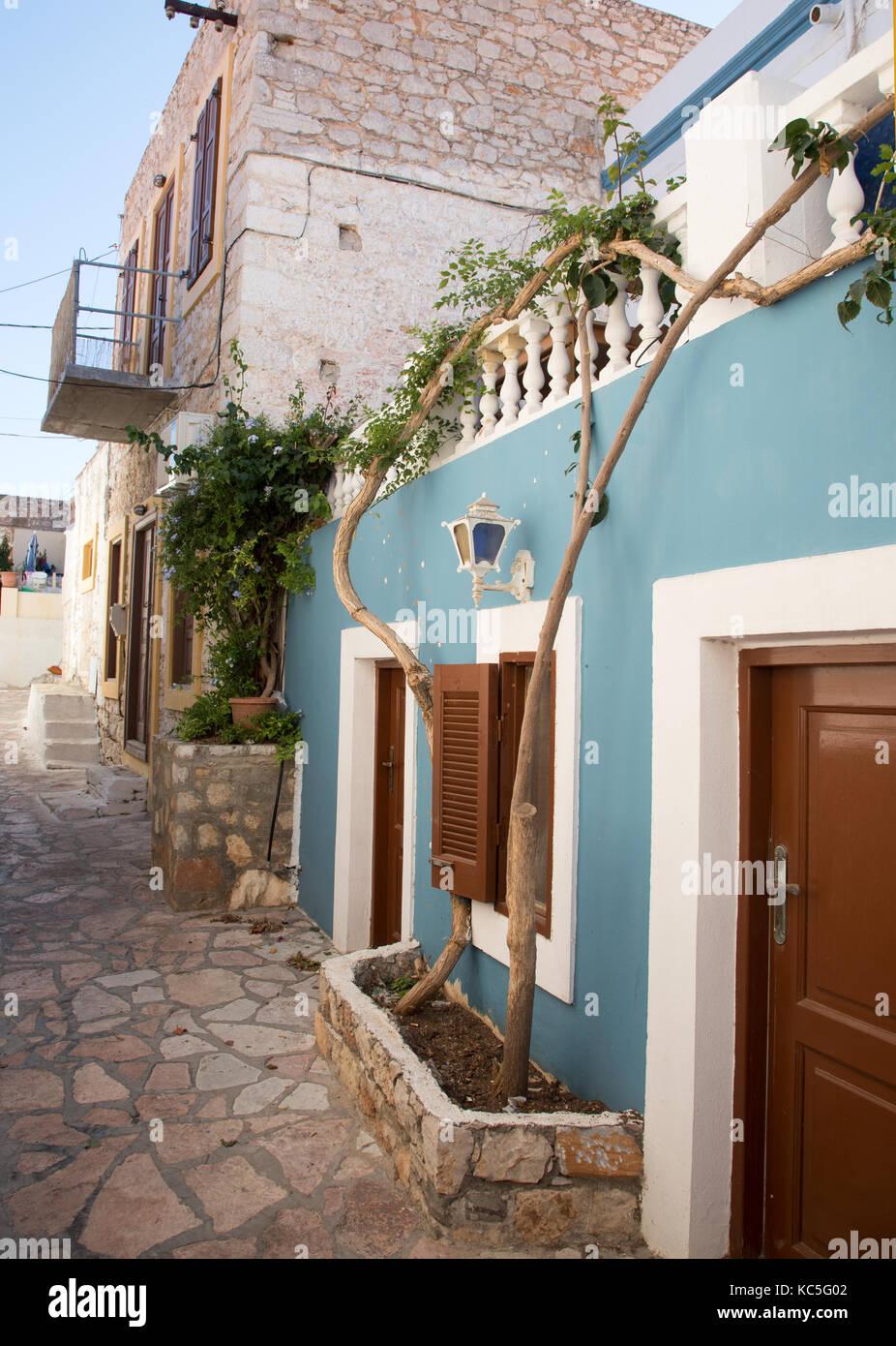 Houses in Halki Greek Islands Greece - Stock Image